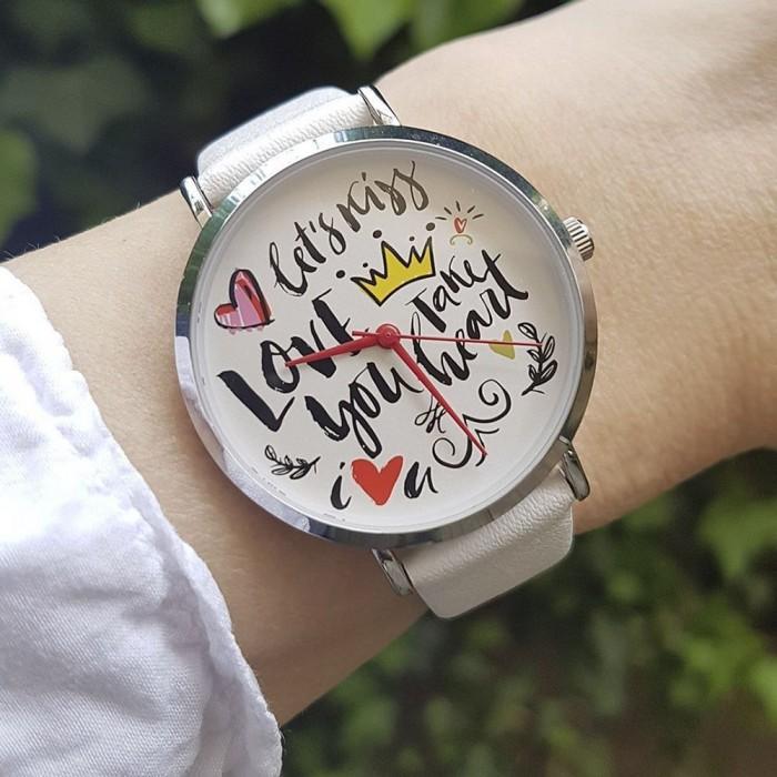Armbanduhr Regent Leder Uhr Analog Quarz Scribble Ba Damen Urba511 Weiß 511 5LAj4R