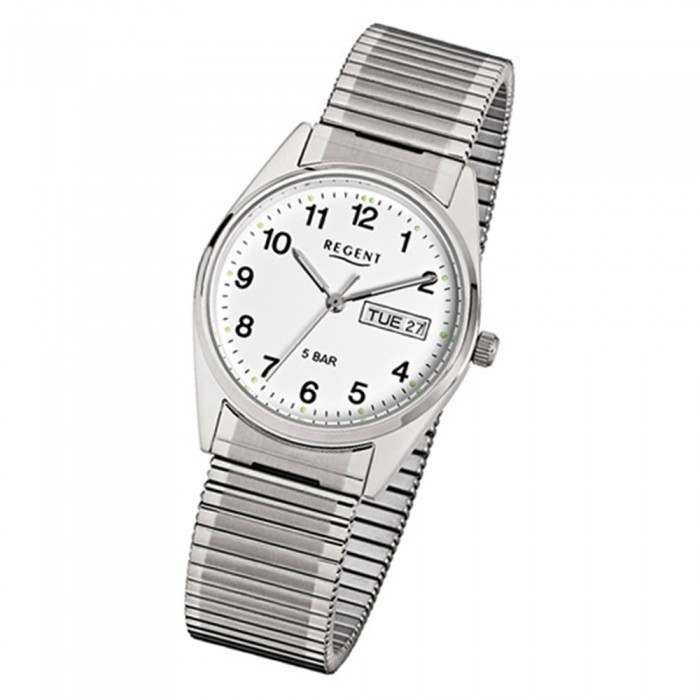Armbanduhr Mineralglas Quarz Urf292 Edelstahl Regent Herren Silber CBxoerd