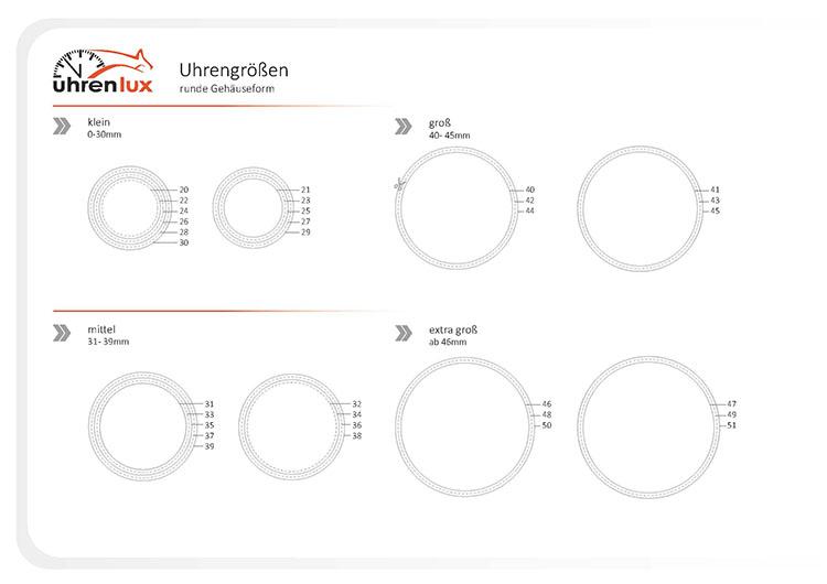 Uhrengrößen für runde Uhren